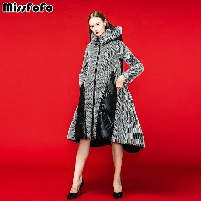 459d9a5deb6 MissFoFo Для женщин вниз пальто CLJ куртки 2018 Новая мода Парка на пуху  сетки лоскутное Длинная