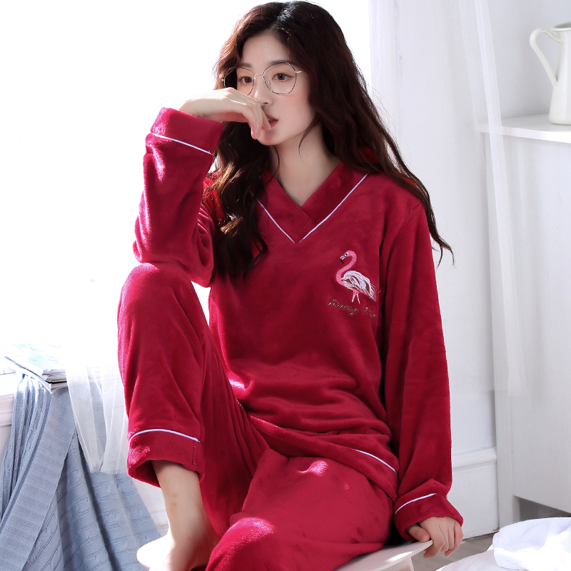 Winter Warm Flannel Elegant Women Sleepwear   Pajamas   lady Cartoon Red   Pajama     Set   Pullover Coral Fleece Pijamas Mujer Home Suits