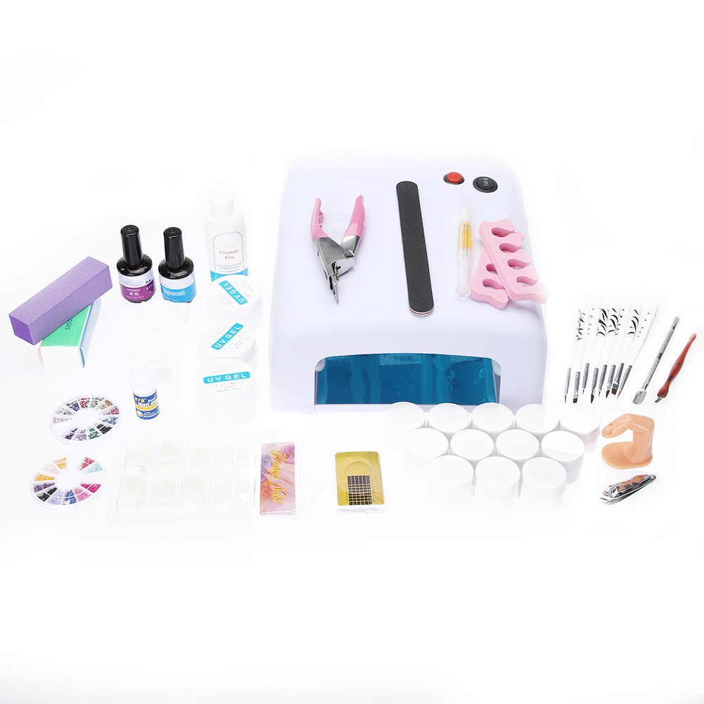 Nail Art Equipment Set 36W UV Gel Nail Polish Dryer with 3D Decorations Painting Brushes Glue Manicure Nail Tips Cutter File nail rhinestones 3d nail art decorations hinning sharp flat bottom studs nail decor for uv gel polish manicure in wheel