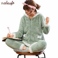 Fdfklak Large size pajamas women autumn winter thick pyjamas set coral fleece cute home clothes student's sleepwear pijama