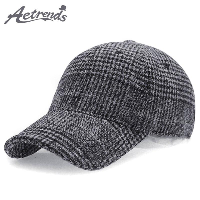 [AETRENDS] Plaid Woolen Felt Baseball Cap Men Women Cotton Snapbacks Baseball Hats Z-6246