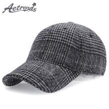 [AETRENDS] Plaid Woolen Felt Baseball Cap Men Women Cotton Snapbacks Hats Z-6246