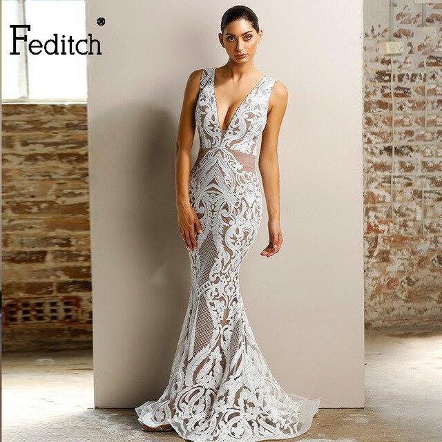 114d5e95 Feditch Sexy Long Sequined Dress Women Sleeveless Deep V neck Maxi Dresses  Bodycon Elegant Party Christmas Female Vestidos