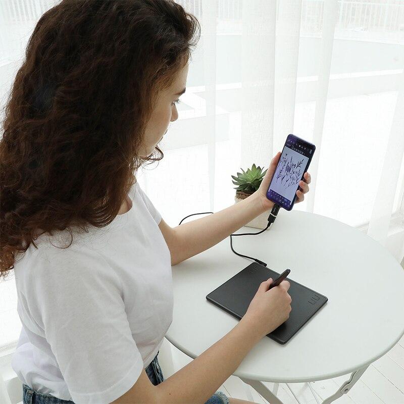 HUION HS64 gráficos dibujo Tabletas digitales OTG función firma pluma tableta con Stylus sin batería para Android Windows macOS