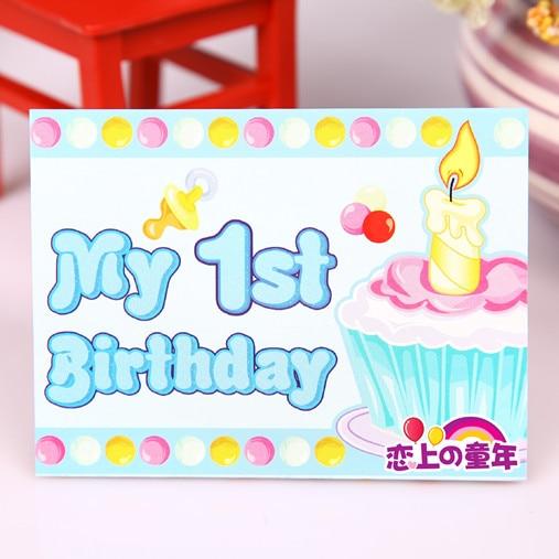Free Shipping Birthday Supplies Greeting Card Baby Boy First Invitation