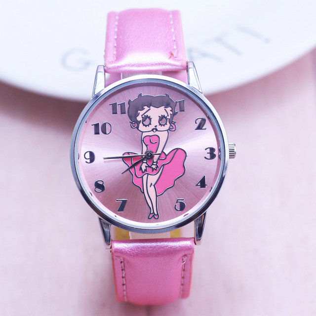 New Arrival Fashion Cute Betty Quartz Leather Band Women Watch Ladies Kids Gift