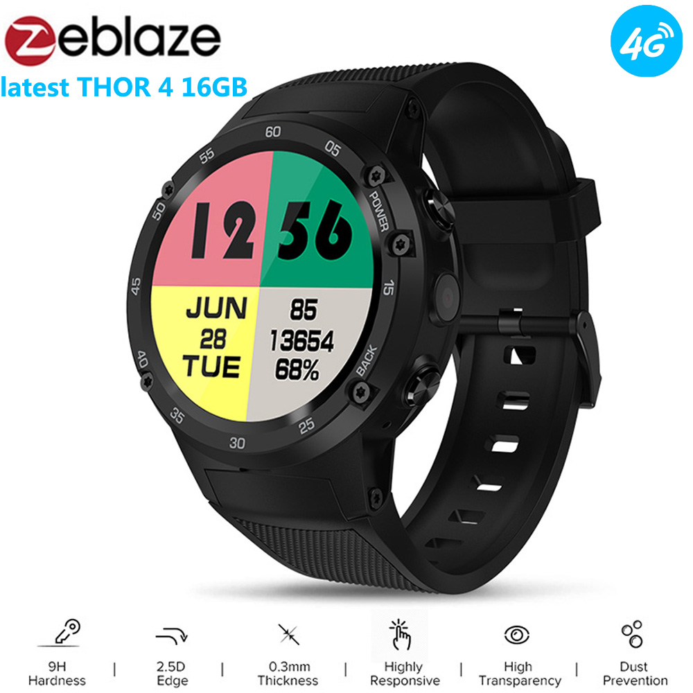Zeblaze Thor 4 Android 7.0 4G LTE Smartwatch GPS Phone MTK6737 Quad Core 1GB+16GB 5MP Smart Tracker Data Call Fitness Watch Men vernee thor 4g lte 5 0inch hd android 6 0 3gb 16gb smartphone