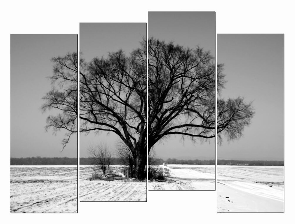 4 Piece HD Giclee Canvas Prints Wall Art Bare Tree Branches Snow Field Paint for Living Room Bedroom Home Office Etc