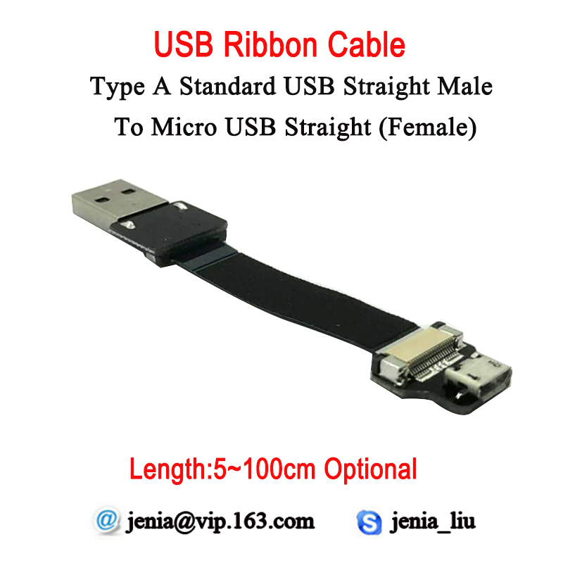 5CM To 100CM Longer Distance Ultra Thin USB Flat Ribbon Cable Micro Straight Female To Male Type A Standard Straight Converter
