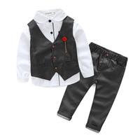 New Boys Set Cotton Shirt Vest Pants Three piece Dress Suits Children's Wear 5 Colors