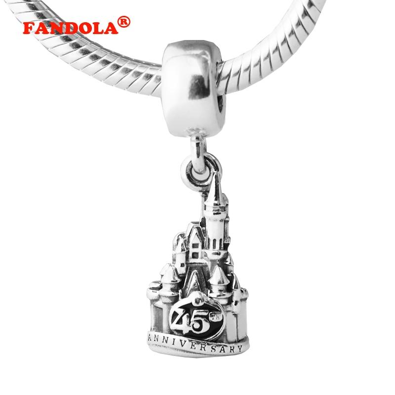 925 Sterling Silver Dangle Cinderella Castle Magic Kingdom 45th Anniversary Charm DIY Beads Fits Pandora Charms Bracelet FL460 magic kingdom magic kingdom savage requiem