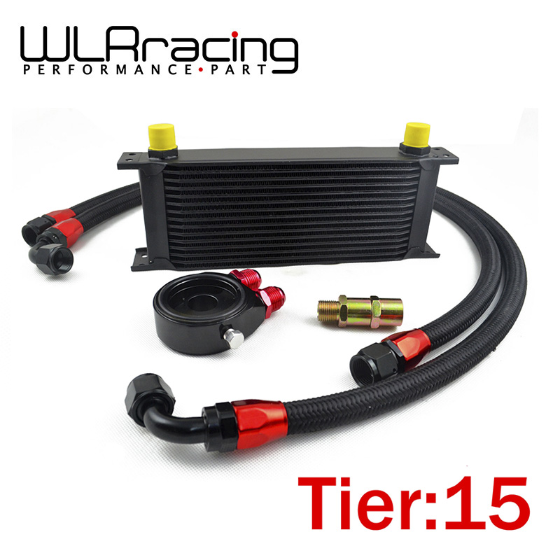 WLRING STORE- UNIVERSAL 15 ROWS OIL COOLER + OIL FILTER SANDWICH ADAPTER BLACK + SS NYLON STAINLESS STEEL BRAIDED AN10 HOSE managing the store