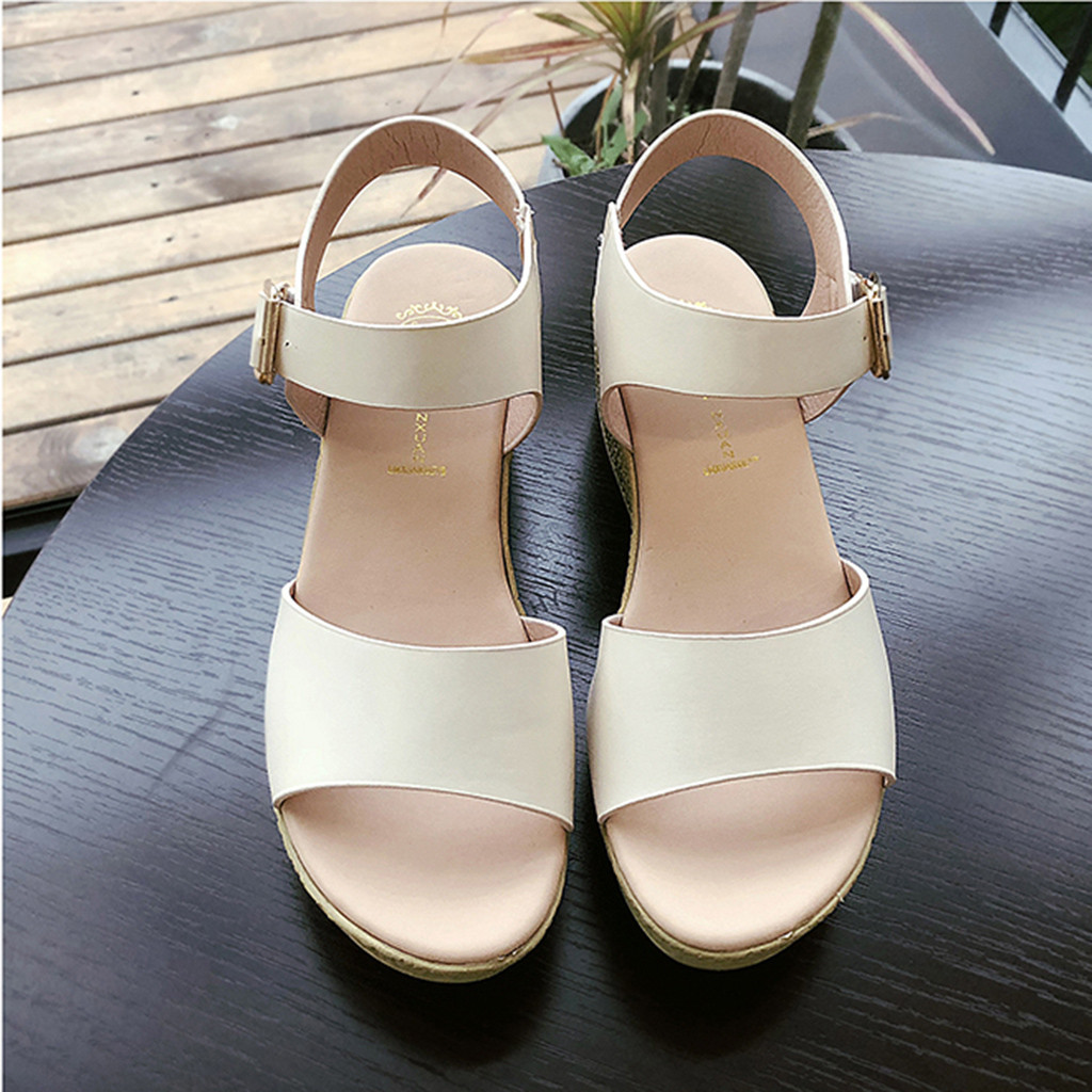 SAGACE Shoes Sandals Wedge Platforms Strap Open-Toe Thick Summer Casual Buckle 9031115