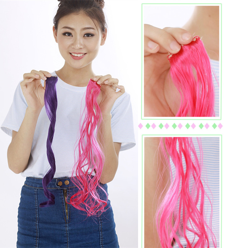 5pcslot 20inch Synthetic Curly Ombre Rainbow Color Pink Hair Clip