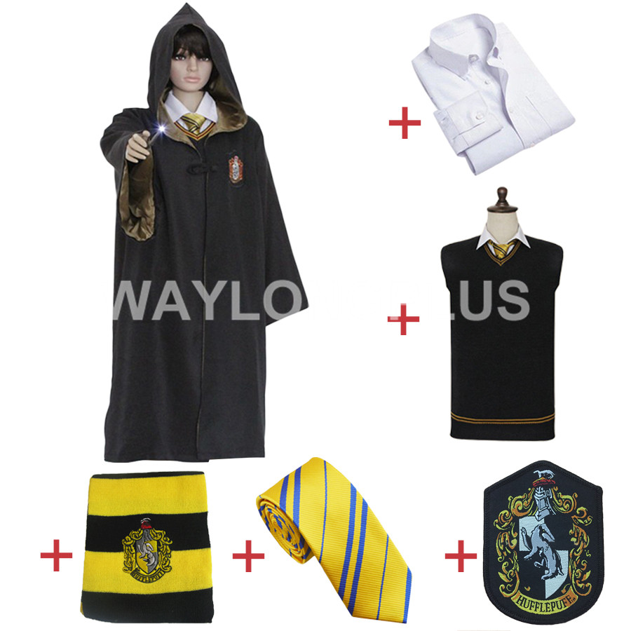Free Shipping Hufflepuff Cosplay Robe Cloak Shirt Sweaters Tie Scarf Badge Uniform for Harri Potter Cosplay