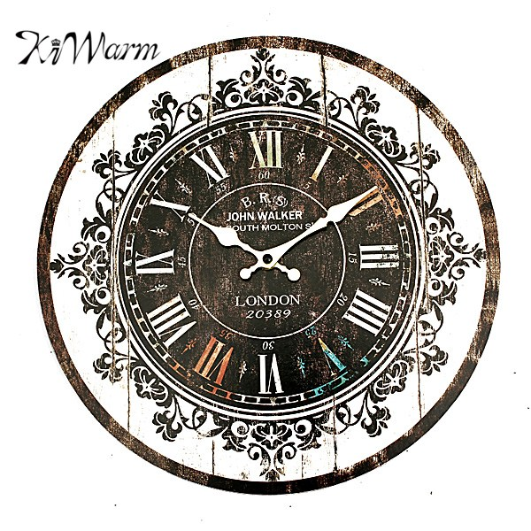 KiWarm Large Vintage Tracery Shabby Retro Kitchen Home Office Decoration Wooden Wall Clock Ornament Craft For Gift