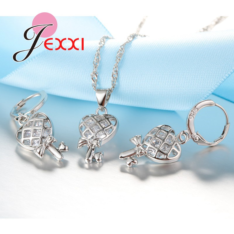JEXXI New Design Heart And Bowknot Shape Necklace + Earring Set Women Fashion Jewelry Silver Chain Sweater Pendant Luxury Gifts