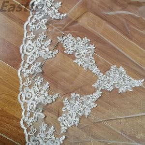 Image 3 - Один слой тюль белый цвет слоновой кости кружевная кромка свадебная вуаль элегантная Veu de Noiva Длинная фата для невесты вуаль свадебные аксессуары