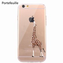 Portefeuille For iPhone 7 Case Giraffe TPU Soft Rubber Silicone Skin Cover for iPhone 8 Plus X 10 6 6S 5 5S SE Cases Accessories(China)