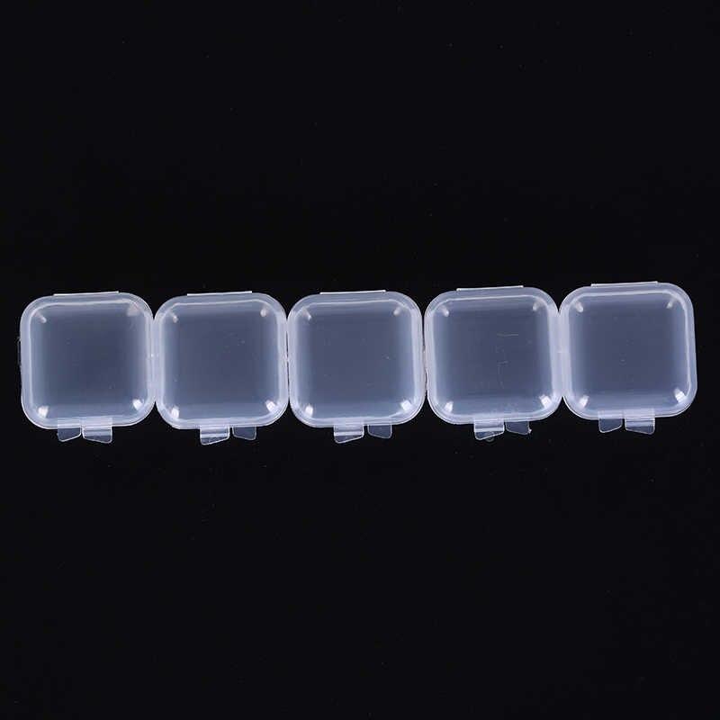 5 unids/set envase para crema facial tarro de maquillaje portátil caja pequeña 35*35*18mm Mini caja de muestra de plástico transparente