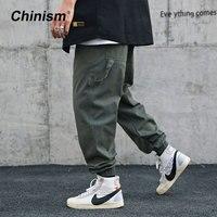 CHINISM 2019 Spring Belt Cargo Pants Mens Hip Hop Streetwear Loose Jogger Pants