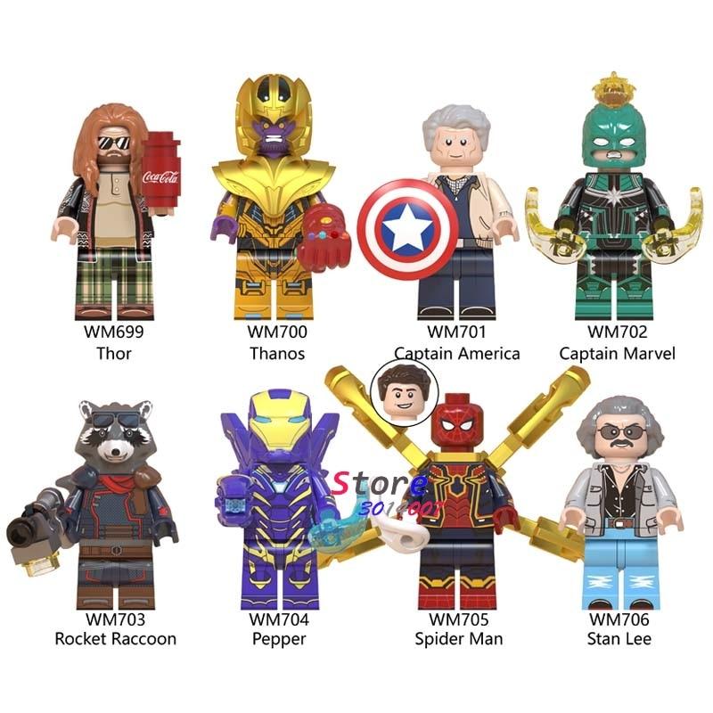 50pcs Avengers Endgame Fat Thor Thanos Pepper Iron Man Captain America Marvel Spider Man Stan building