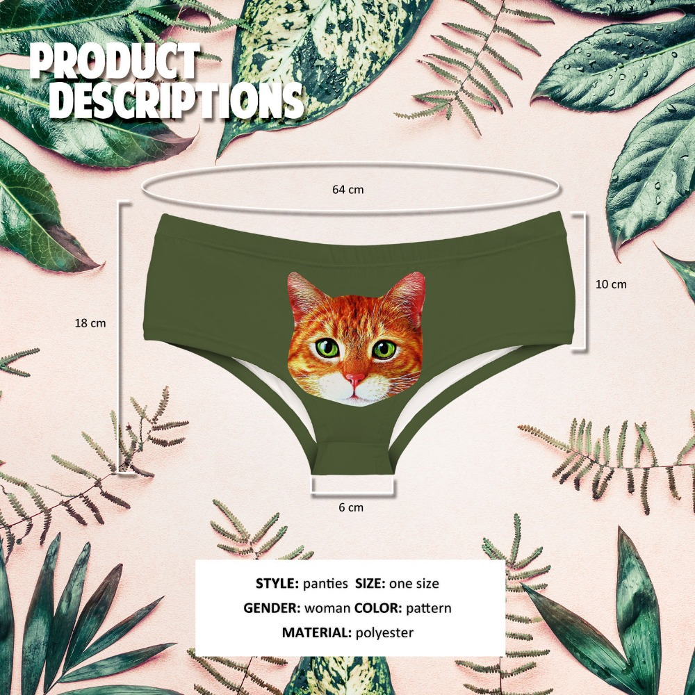 LEIMOLIS RED HAIR CAT funny print sexy hot panties female kawaii Lovely underwear push up briefs women lingerie thongs in women 39 s panties from Underwear amp Sleepwears