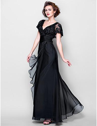 2017 Mãe Da Noiva Vestidos Bainha V-neck Mangas Curtas Vestidos de Chiffon Preto de Renda vestido Longo Vestido de Noite Mãe