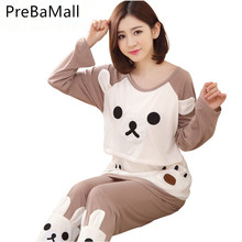 Buy Cartoon Bear Maternity Nursing Pajamas Clothes Casual Sleepwear Sets For Pregnant Women Long Sleeve Tops&Pants Nightgown D0043 directly from merchant!