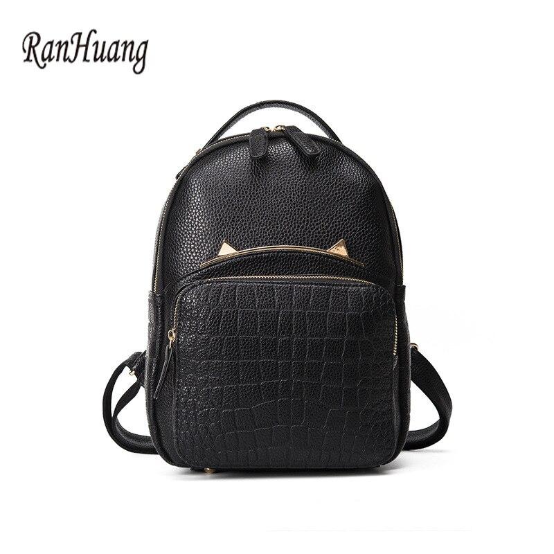 RanHuang Women Fashion Cat Designer Backpack PU Leather Alligator Backpack Korean School Bags for Teenagers Girls