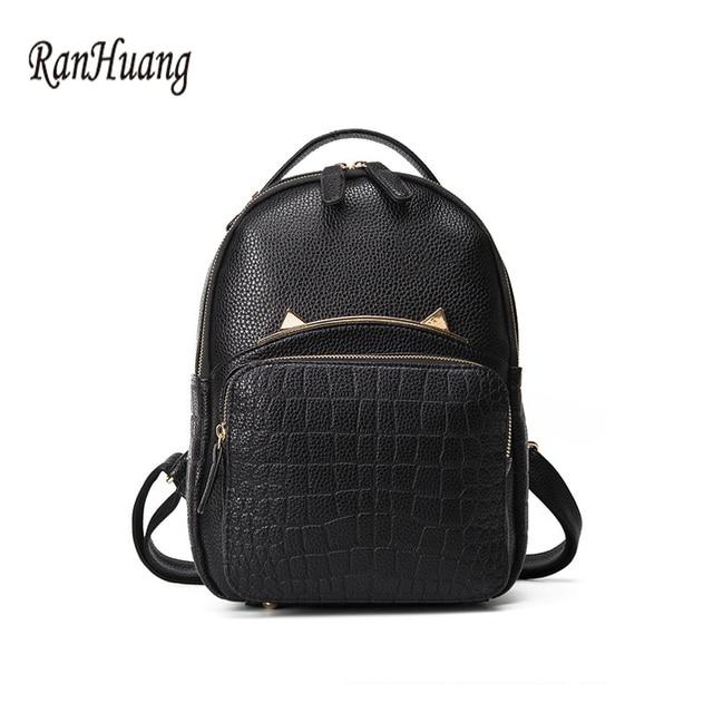 e24612513f RanHuang Women Fashion Cat Designer Backpack PU Leather Alligator Backpack  Korean School Bags for Teenagers Girls Black Rucksack