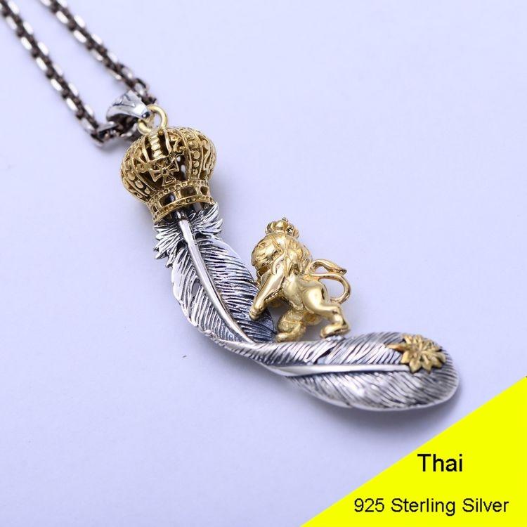 925 Sterling Silver Retro Crown Lion Feather Necklace Pendant Men Thai Silver Fine Jewelry Gift CH056624 rasta vibrations thailand golden lion lion imported genuine sterling silver pendant pendant retro male