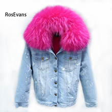 RosEvans 2017 Korean Winter Women Genuine Raccoon Fur Collar +Detachable Lined Denim Jeans Jacket Female Overcoat B281