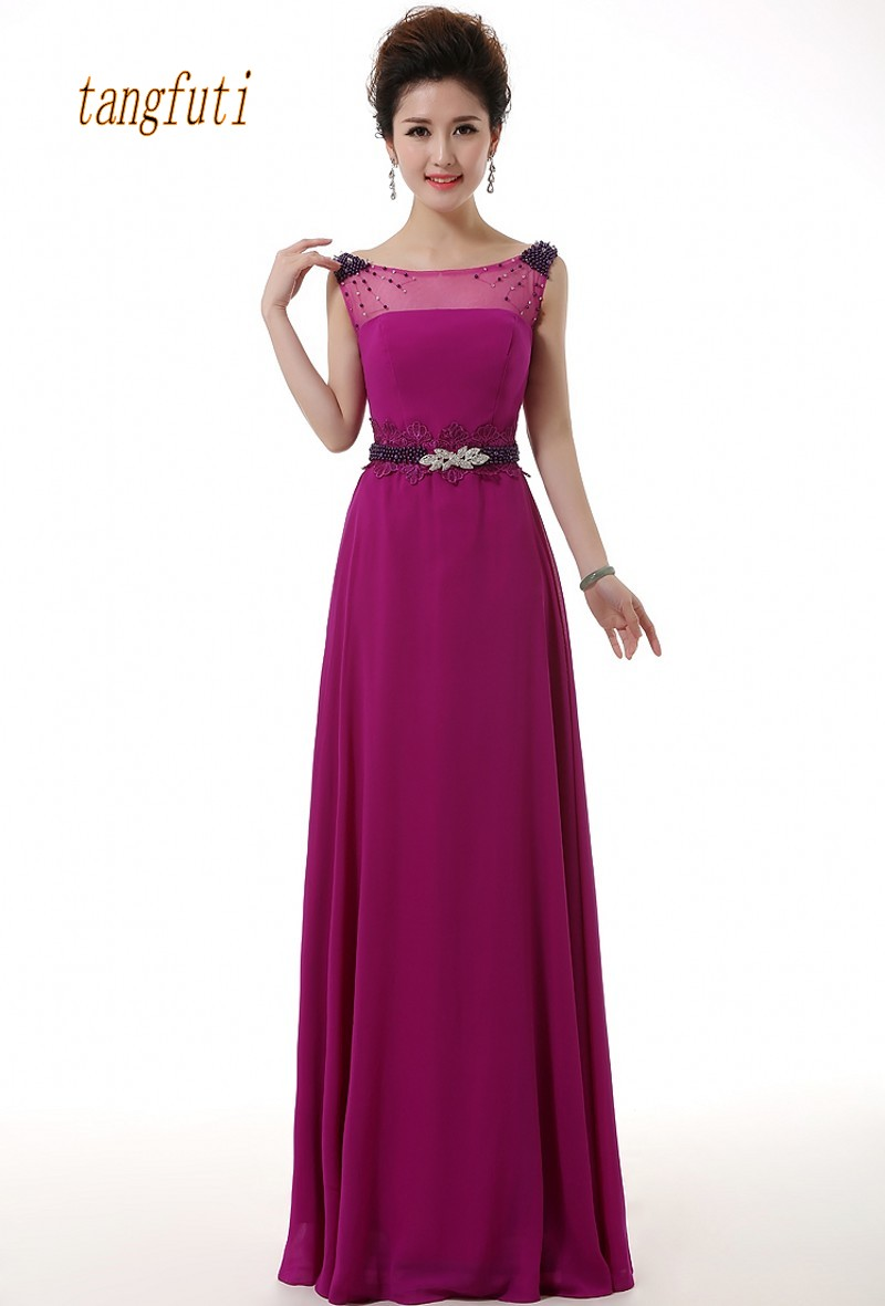 Long Prom Dresses Sheer Neck Beading A Line Elegant Women Special Occasion Gowns