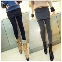 Cute legging 2013 slim wool cashmere nice bottom rhinestones autumn and winter basic skirt pants faux two piece free ship