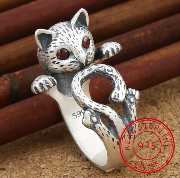 New Arrival High Quality Retro Style Cute Cat Thai Silver 925 Sterling Silver Ladies`adjustable Size Rings Jewelry Gift