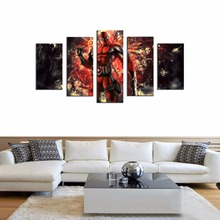 Canvas Wall Art 5 Panels Spider-Man Cartoon Picture Prints on Canvas Contemporary Artworks Home Decorations Framed Ready to Hang