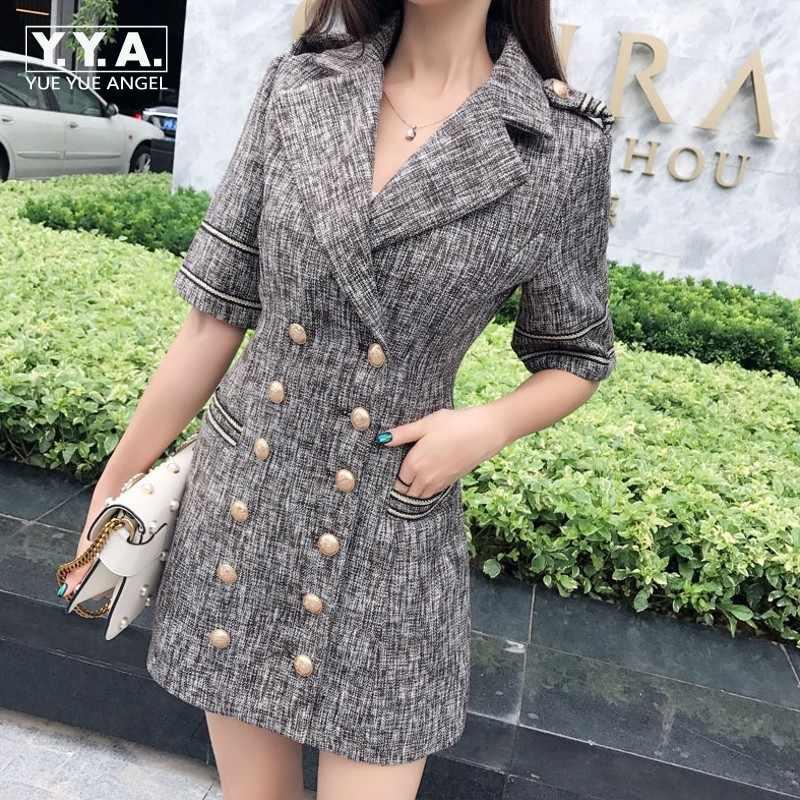 British Elegant Women Double Breasted Blazer Dress Office Ladies Work Slim  Fit Jackets Suit Retro Epaulet 42f26999941e