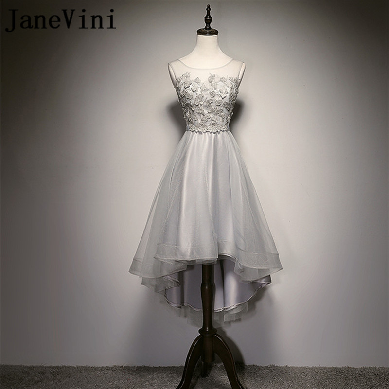 JaneVini Silver Gray Short Front Long Back Wedding Party Dresses High Low Lace Appliques Bridesmaid Dress Pearls Prom Gowns 2018
