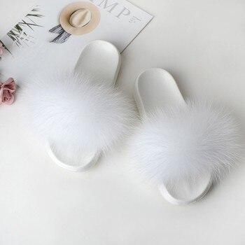 Fur Slides Women's Slippers Home Summer Flip Flops Woman Furry Slippers Ladies Female Shoes Fluffy 2019 Designer Sandals White 3