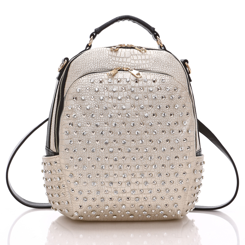 New Arrival Preppy Style Pu Leather Women Backpacks Fashion Diamonds Backpacks For Girls Casual Travel Women School Bag