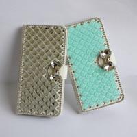 De lujo de Bling Cristalino del bowknot del Diamante Tirón de la Carpeta de La Contraportada Para Samsung Galaxy S3 S4 S5 S6 borde borde Más S7 S8 Más ranura de tarjeta