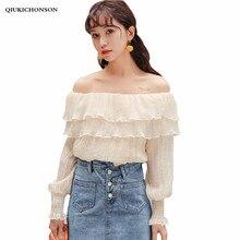 Qiukichonson Sweet Ruffle Tops Ladies 2018 Summer Korean Style Double Ruffles Chiffon Blouses Off Shoulder Long Sleeve Shirts