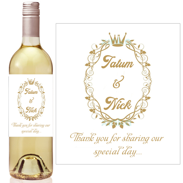 gold crown royal baby shower wine bottle labels hydrangea bridal shower favor mini champagne