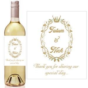 Złota korona królewski Baby Shower etykiety na butelki wina, hortensja wieczór panieński przysługę, Mini etykieta na wino szampana etykiety ślubne