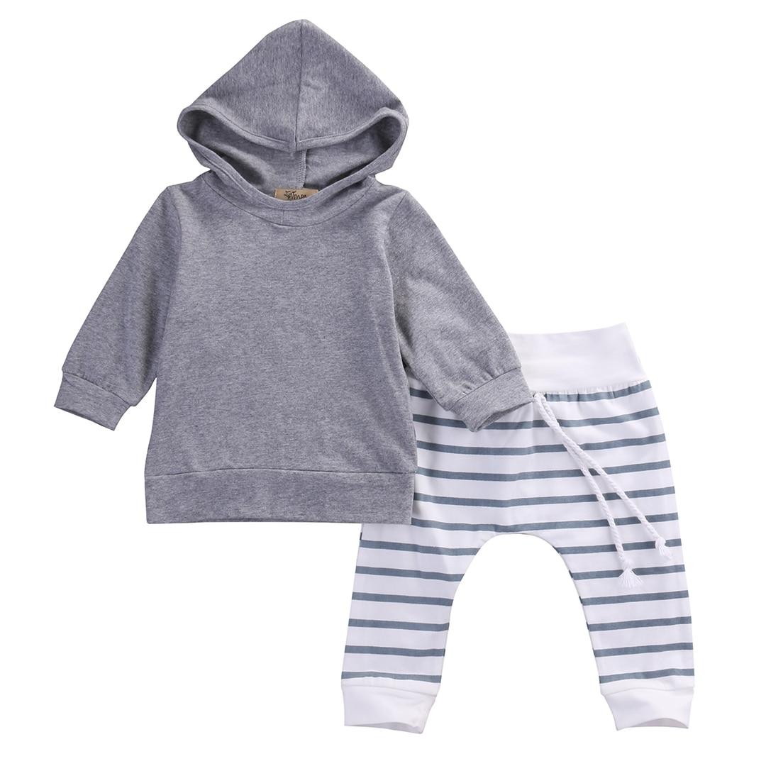 2PCS Baby Boys & Girl Warm long sleeve Hooded Sweatshirt + striped Pants Outfit cotton Set US STOCK0-18M