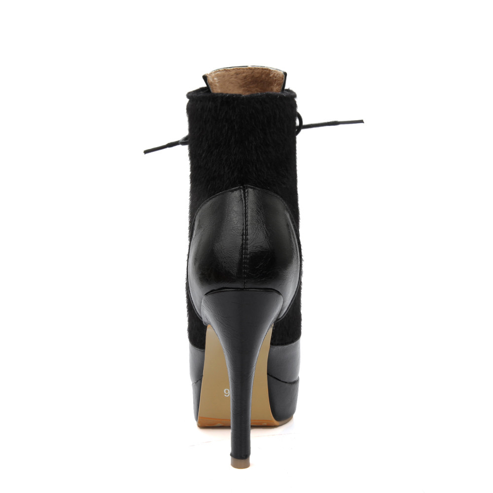 34 Leather Nero Pu Large Stivaletti Fashion Warm Toe 46 Pointed Tacchi  rosso Handmade Orshirly Solid Colore Autunno ... c86d6678ebd