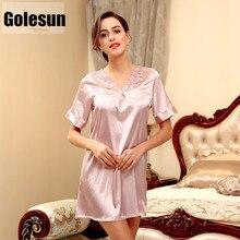 2017 female summer nightdress Leisure bud silk nightgown short sleeves lounge women's clothing SQ122