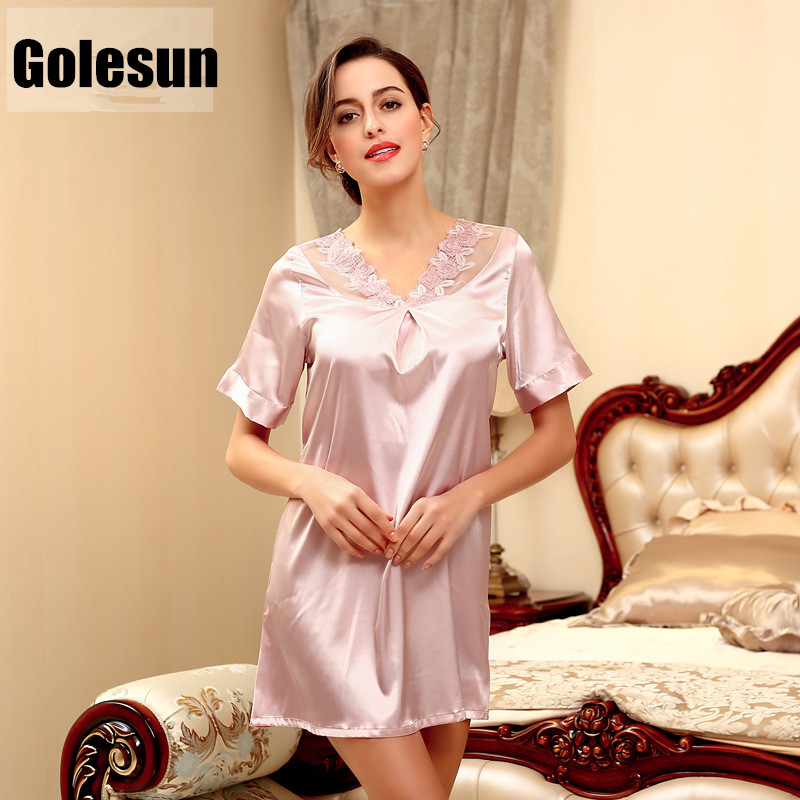 2017 female summer nightdress Leisure bud silk nightgown short sleeves lounge women s clothing SQ122