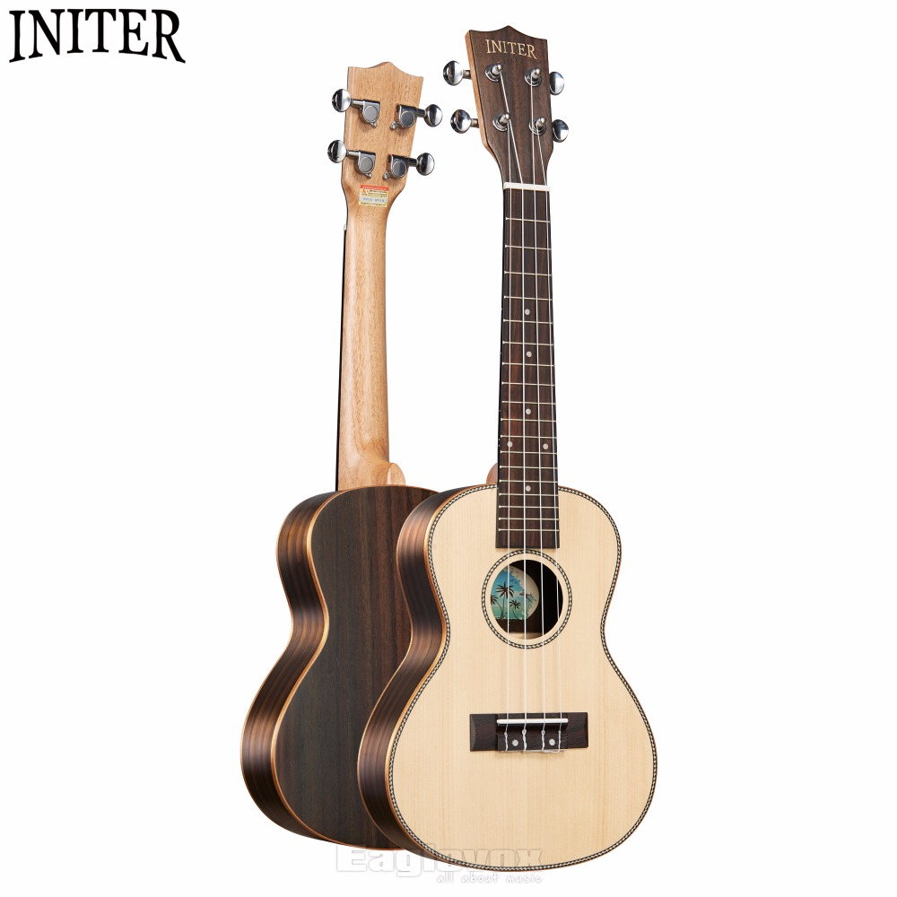 Initer Spruce Concert Ukulele 23 inch Rosewood Fingerboard Rosewood Back Side  18 Fret Solid Picea Asperata Top IUC-680 12mm waterproof soprano concert ukulele bag case backpack 23 24 26 inch ukelele beige mini guitar accessories gig pu leather